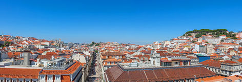 Panorama of the Baixa District of Lisbon Royalty Free Stock Images