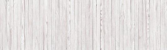 Panorama- bakgrund av vit trätextur, ljusa plankor som wa arkivfoto