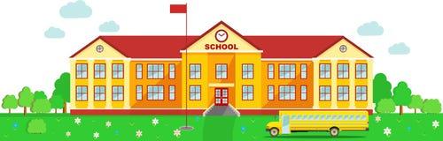 Panorama- bakgrund med skolabyggnad och Royaltyfri Bild