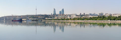 Panorama of Baku from Caspian Sea, Azerbaijan Stock Photos