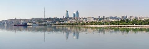 Panorama of Baku from Caspian Sea, Azerbaijan. Panorama of Baku downtown with Flame Towers skyscrapers and TV tower from Caspian Sea, Azerbaijan stock photos