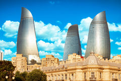 Panorama of Baku city, Azerbaijan stock photo