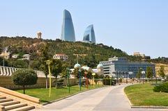 Panorama Baku.Types of boulevards on the shore of the Caspian Se royalty free stock photo