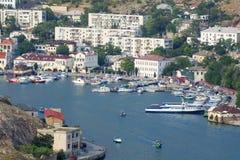 The Panorama of Balaklava bay, Crimea. Royalty Free Stock Image