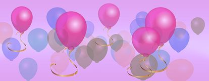 Panorama balloons birthday celebration background Royalty Free Stock Photos