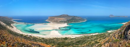 Panorama of Balos beach and Gramvousa island near Kissamos in Crete Greece. Panorama of Balos beach and Gramvousa island near Kissamos in Crete, Greece Royalty Free Stock Photo