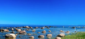 Panorama Baltic Sea. Panorama of coast of Baltic sea: swans among huge boulders Stock Photos