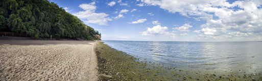 Panorama of Baltic sea, cliff - Poland. Gdynia Orlowo Royalty Free Stock Photography