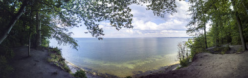 Panorama of Baltic sea, cliff - Poland Royalty Free Stock Photos