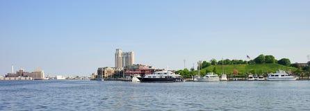 Panorama of Baltimore Maryland inner Harbor Stock Photo