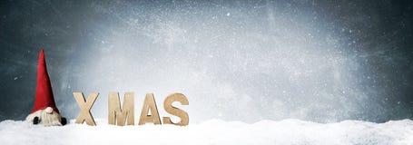 Panorama- baner för Xmas med gulliga Santa Claus arkivbilder