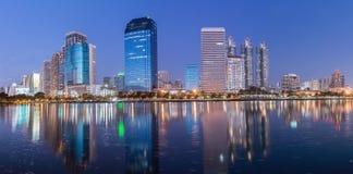 Panorama,Bangkok building at night Royalty Free Stock Photos