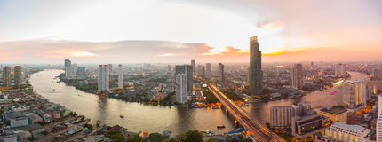 Panorama Bangkok city with chaophraya river at sunset stock photo