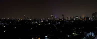 Panorama of Bangkok city downtown at night Stock Photography