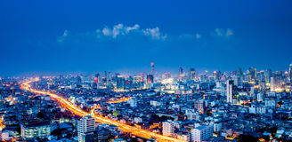 Panorama of Bangkok city downtown at night, Bangkok,Thailand Stock Photos