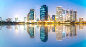 Panorama of Bangkok city at night, Thailand Royalty Free Stock Photography