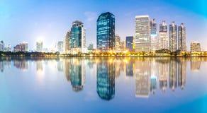 Panorama of Bangkok city at night, Thailand. Panorama of Bangkok city at night with reflection of skyline, Bangkok,Thailand Royalty Free Stock Photography