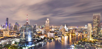 Panorama of Bangkok City at night time Stock Image