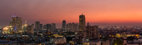 Panorama bangkok city at sunset stock images