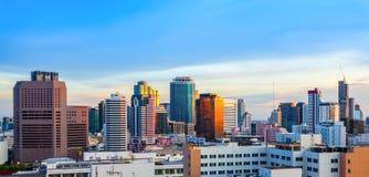 Panorama of Bangkok Cityscape in twilight Stock Photo