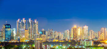 Panorama of Bangkok Cityscape in twilight, Business district wit Stock Image