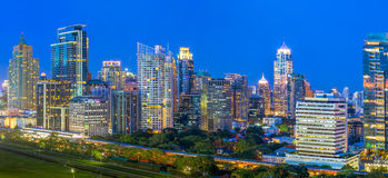 Panorama of Bangkok Cityscape in twilight, Business district wit Stock Images