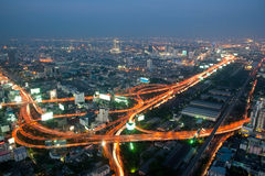 Panorama of Bangkok expressway Stock Photos