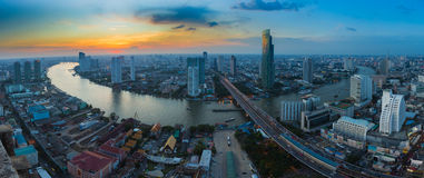 Panorama of Bangkok river curve during sunset Stock Image