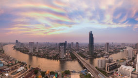 Panorama of Bangkok river curved aerial view skyline Stock Photo