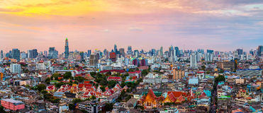 Panorama of Bangkok skyline at sunset, Thailand. Royalty Free Stock Photo