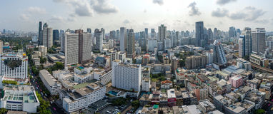 Panorama-Bangkok-Stadt, Nana und Sukhumvit-Straße, Luft-Photograp Stockbilder