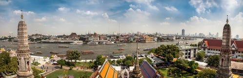 Panorama of Bangkok. View from top of Wat Arun temple to the river and Bangkok city Stock Images