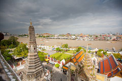 Panorama of Bangkok from Wat Arun temple Royalty Free Stock Images