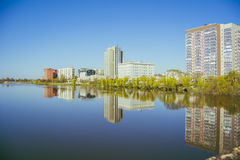 The panorama of the bank of the river Tobol. Landscape of the left bank of the river Tobol flood stock photography