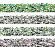 Panorama banknote stacks set1. 3D illustration of panoramic stacks of banknotes, Australian dollars, dollars, euros, pounds Stock Photo