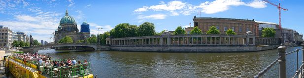 Panorama of the banks of the River Spree in the Centre of Berlin stock image