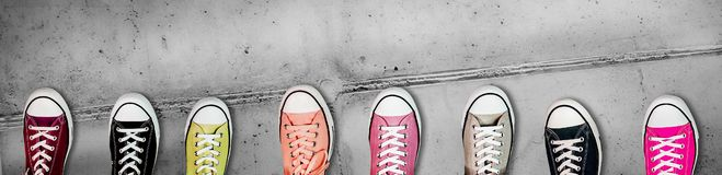 Panorama banner of colorful casual footwear stock photos