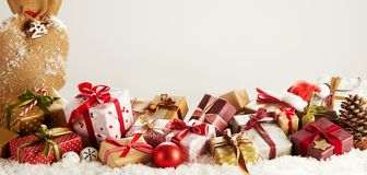 Panorama banner with colorful Christmas gifts stock image