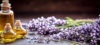 Panorama Banner Of Lavender Essential Oil Royalty Free Stock Photo