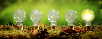 Panorama banner with a row of light bulbs Royalty Free Stock Photography