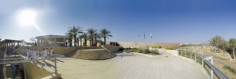 Panorama of Baptismal site Qasr el Yahud on the Jordan river near Yericho Stock Photography