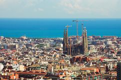 Panorama in Barcelona,. Sagrada familia and many roofs royalty free stock photography