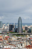 Panorama of Barcelona. Panoramic view of Barcelona in cloudy spring day Royalty Free Stock Images