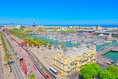 Panorama Barcelona Autoridade portuária - almirante Historic Authority imagem de stock