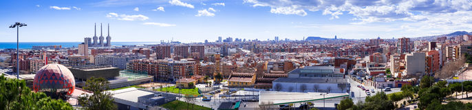 Panorama of Barcelona from Badalona Municipality Royalty Free Stock Images