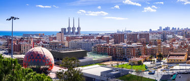 Panorama of Barcelona from Badalona Stock Photography