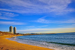 Panorama of Barcelona beach. On summer Stock Photography