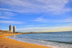 Panorama of Barcelona beach. On summer, Spain Stock Photo