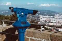 Panorama of Barcelona and binoculars - from Tibidabo mountain stock photos