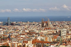 Panorama from Barcelona City from Park Guell Stock Photo
